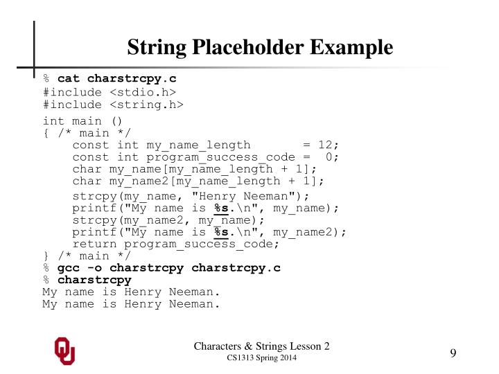 String Placeholder Example