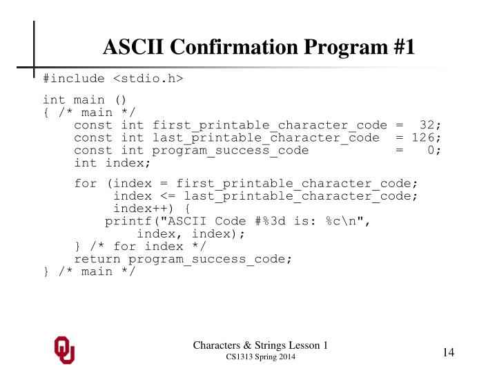 ASCII Confirmation Program #1