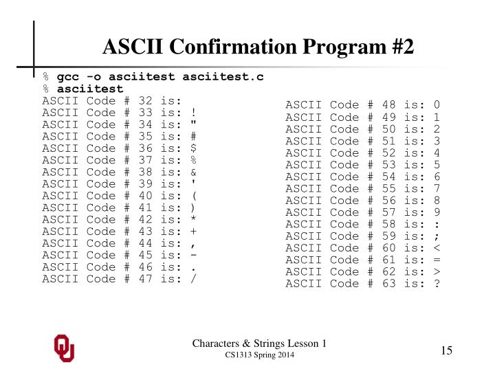 ASCII Confirmation Program #2