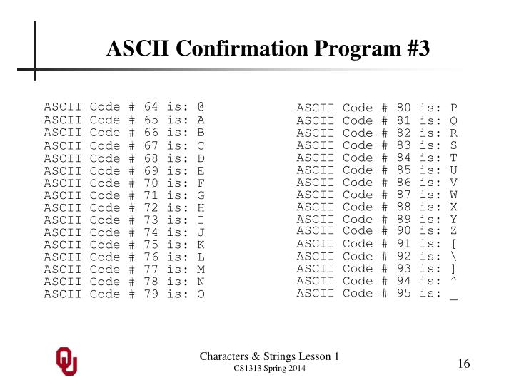 ASCII Confirmation Program #3