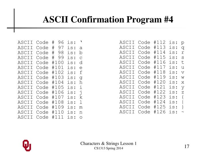 ASCII Confirmation Program #4