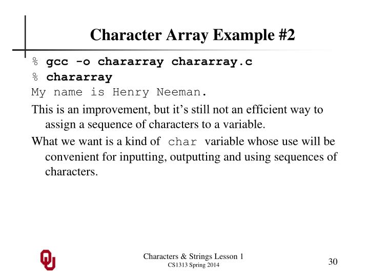 Character Array Example #2