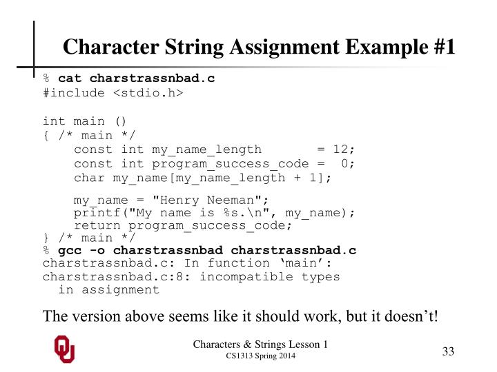 Character String Assignment Example #1