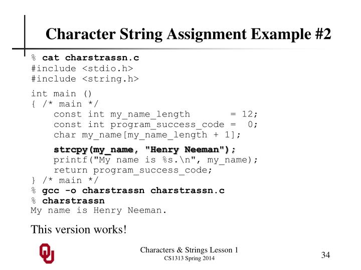 Character String Assignment Example #2