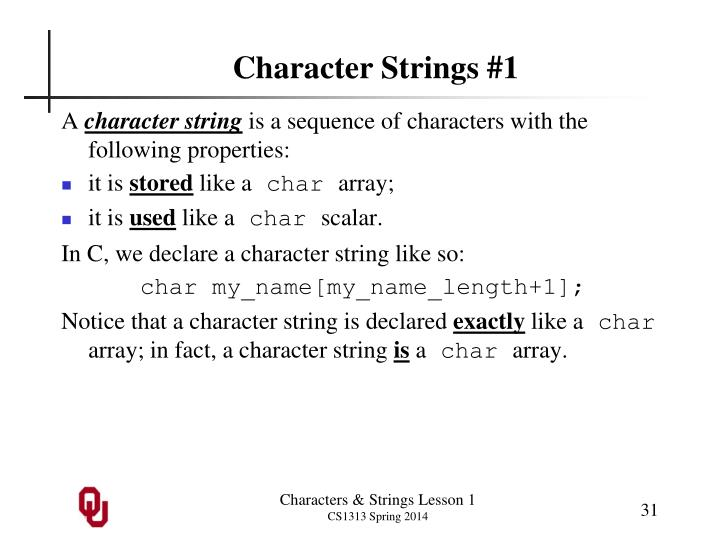 Character Strings #1