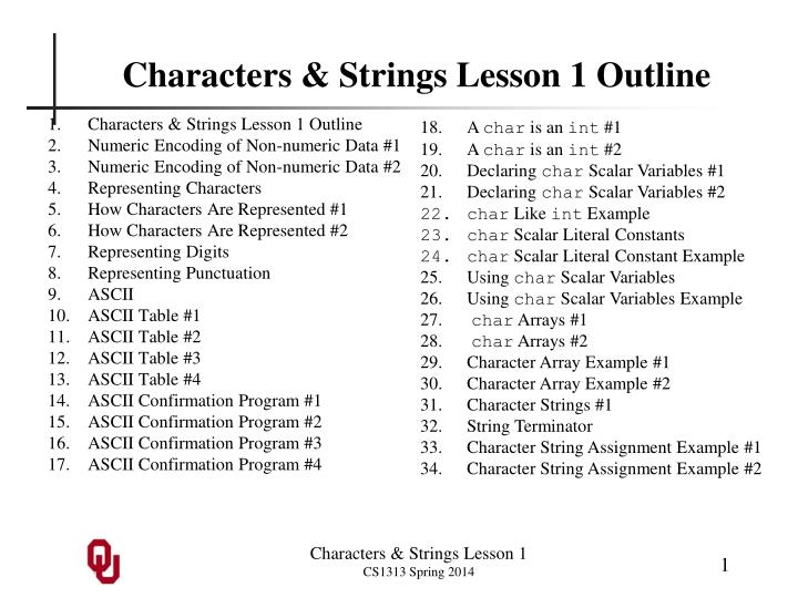 Characters strings lesson 1 outline