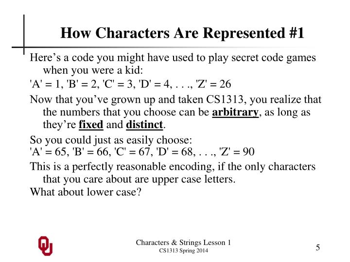 How Characters Are Represented #1