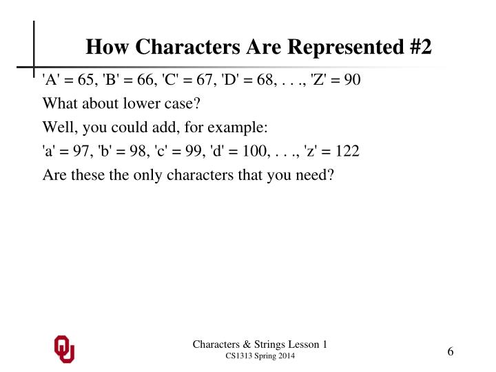 How Characters Are Represented #2