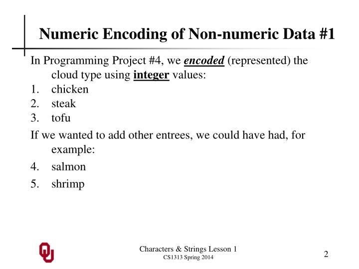 Numeric Encoding of Non-numeric Data #1