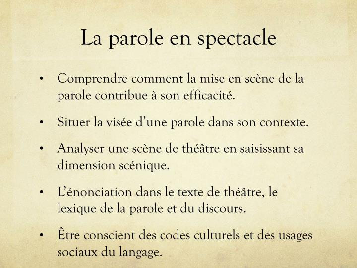 La parole en spectacle