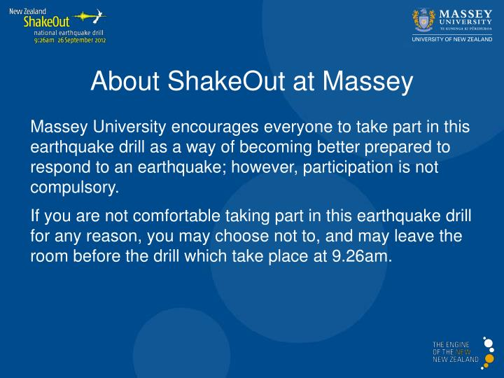 About ShakeOut at Massey