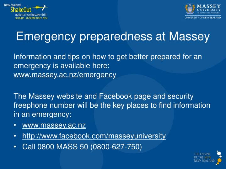 Emergency preparedness at Massey