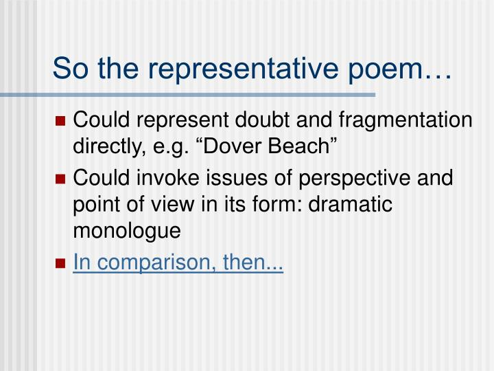 So the representative poem…