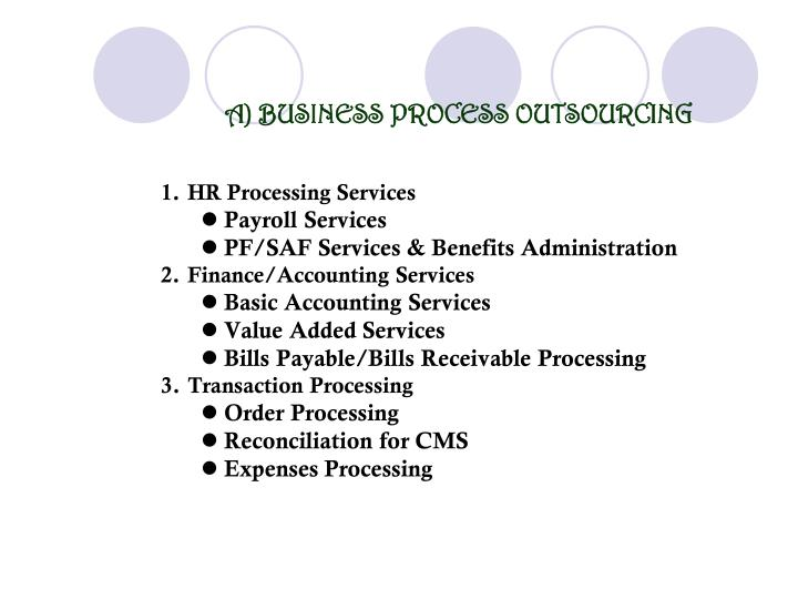 A) BUSINESS PROCESS OUTSOURCING