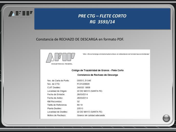 Constancia de RECHAZO DE DESCARGA en formato PDF.