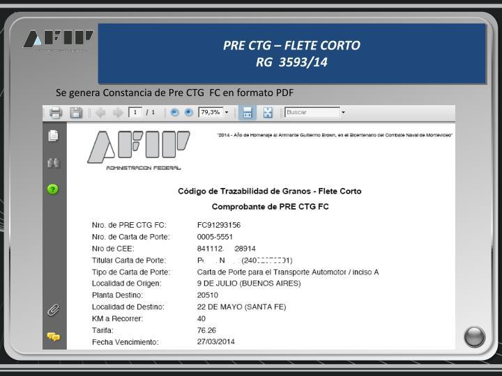 Se genera Constancia de Pre CTG  FC en formato PDF