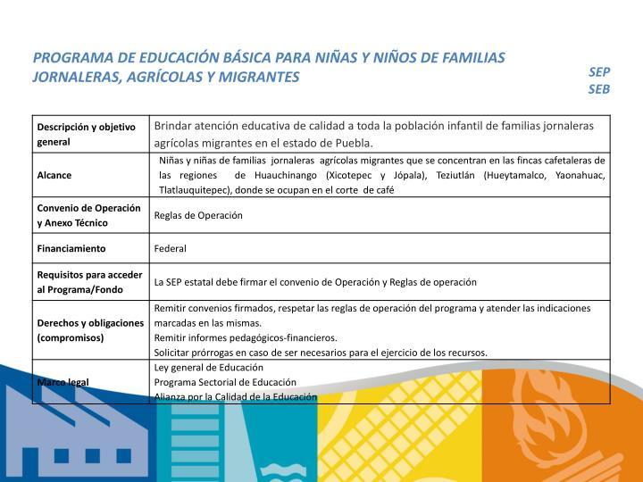 PROGRAMA DE EDUCACIÓN BÁSICA PARA NIÑAS Y NIÑOS DE FAMILIAS JORNALERAS, AGRÍCOLAS Y MIGRANTES