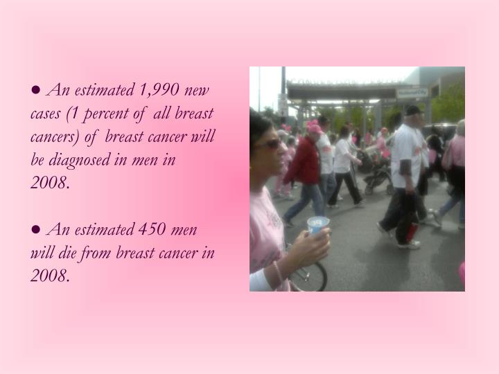 ● An estimated 1,990 new cases (1 percent of all breast cancers) of breast cancer will be diagnosed in men in 2008.