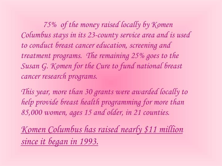 75%  of the money raised locally by Komen Columbus stays in its 23-county service area and is used to conduct breast cancer education, screening and treatment programs.  The remaining 25% goes to the Susan G. Komen for the Cure to fund national breast cancer research programs.