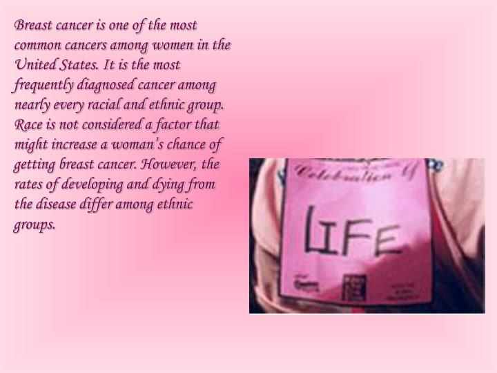 Breast cancer is one of the most common cancers among women in the United States. It is the most frequently diagnosed cancer among nearly every racial and ethnic
