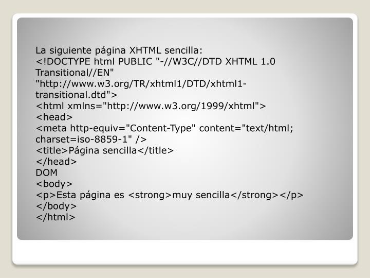 La siguiente página XHTML sencilla: