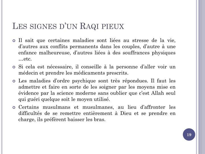 Les signes d'un Raqi pieux