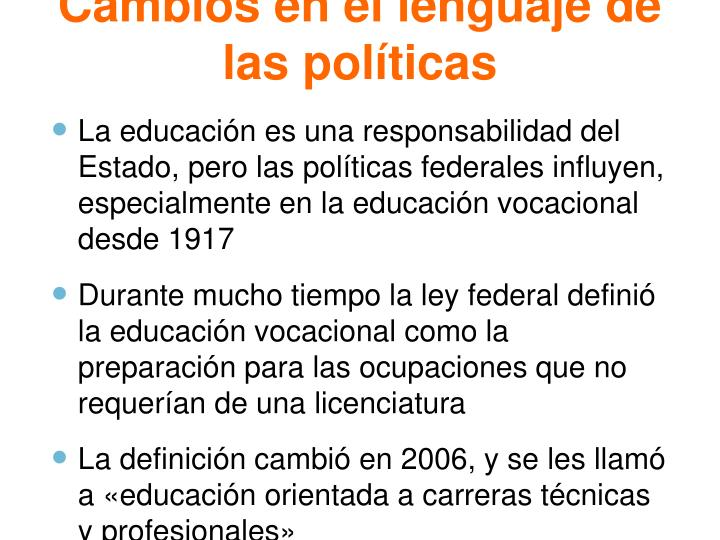 Cambios en el lenguaje de las políticas