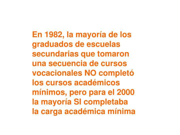En 1982, la mayoría de los graduados de escuelas secundarias que tomaron una secuencia de cursos vocacionales NO completó los cursos académicos mínimos, pero para el 2000 la mayoría SI completaba la carga académica mínima