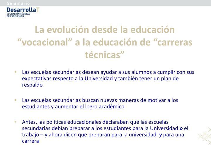"""La evolución desde la educación """"vocacional"""" a la educación de """"carreras técnicas"""""""