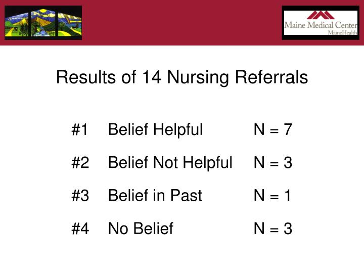 Results of 14 Nursing Referrals