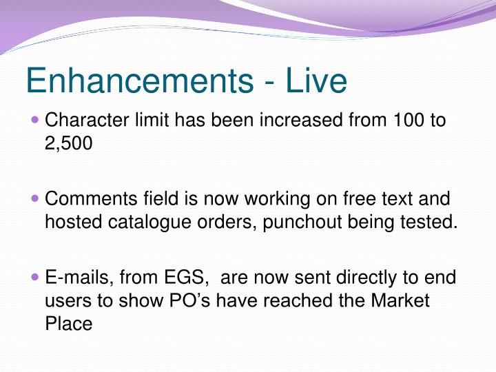 Enhancements - Live
