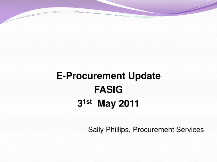 E-Procurement Update