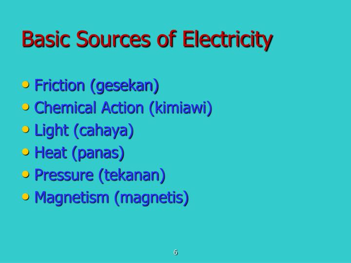 Basic Sources of Electricity