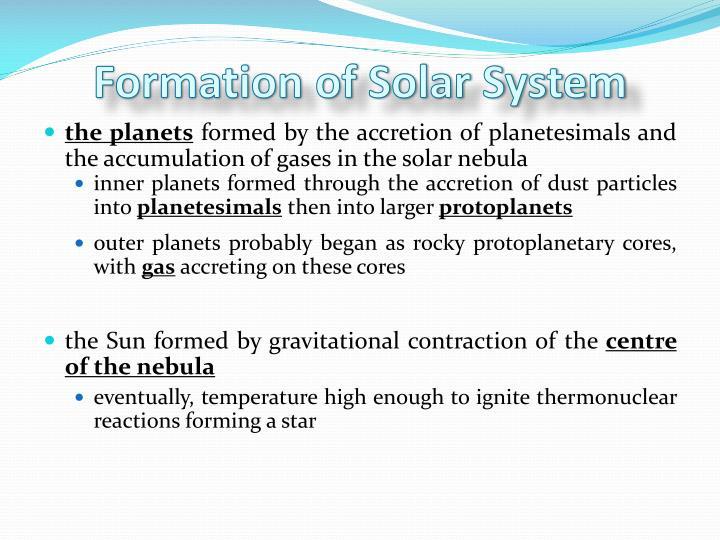 Formation of Solar System