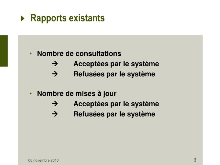 Rapports existants