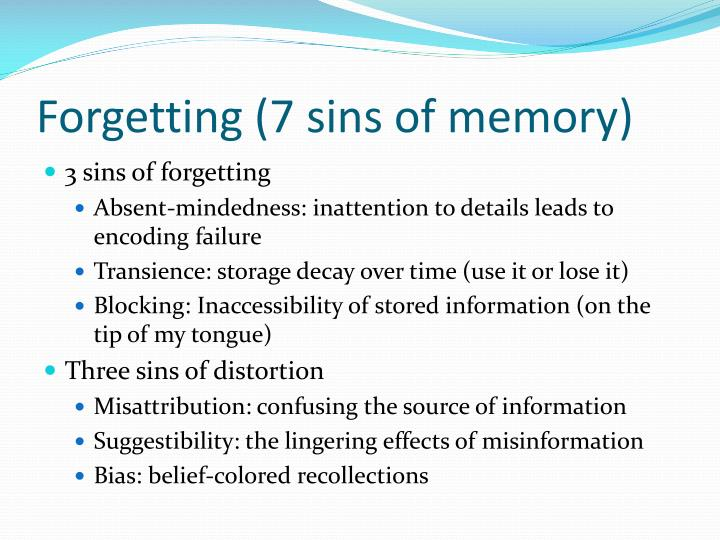 Forgetting (7 sins of memory)