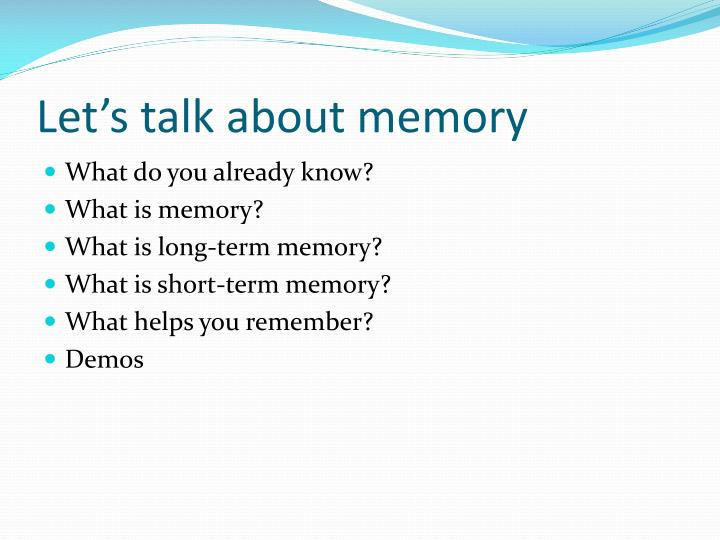 Let s talk about memory