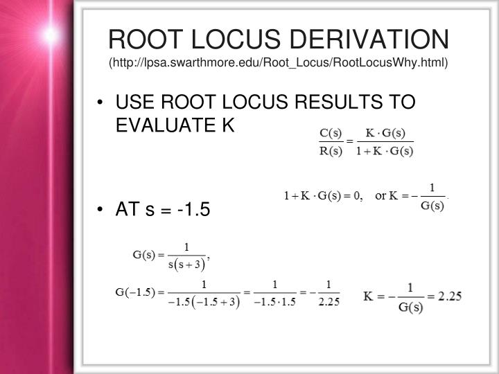 Root locus derivation