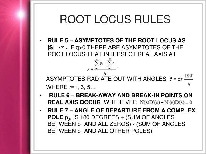 Root locus rules