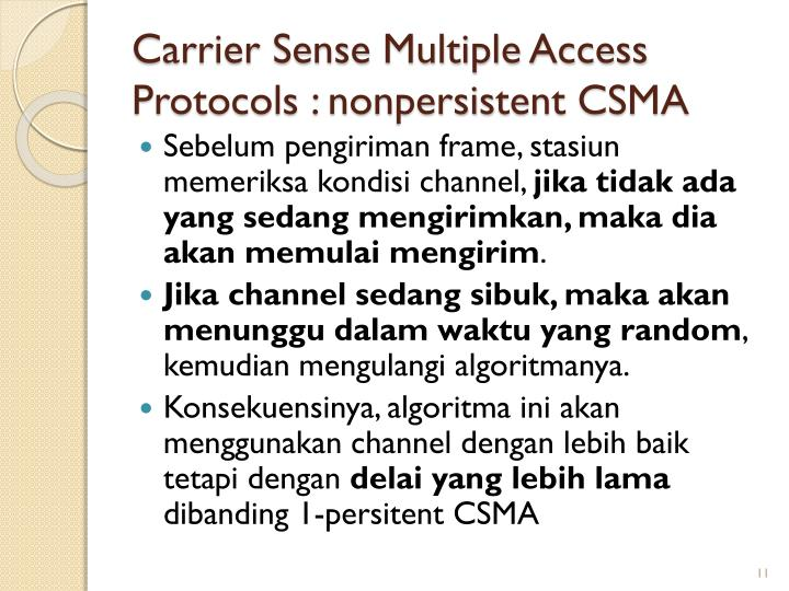 Carrier Sense Multiple Access Protocols : non