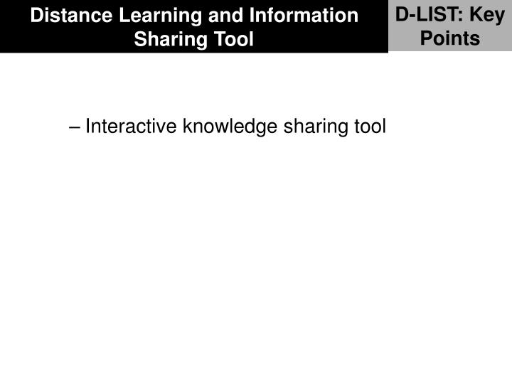 Distance Learning and Information Sharing Tool