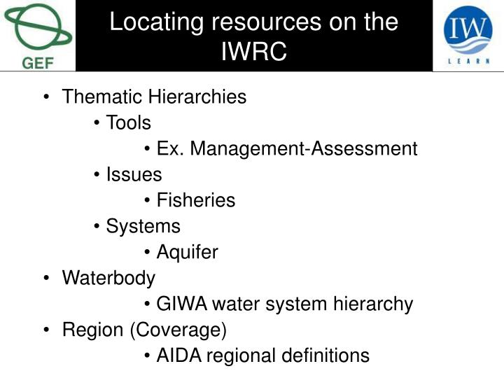 Locating resources on the IWRC