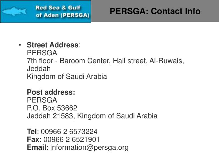 PERSGA: Contact Info