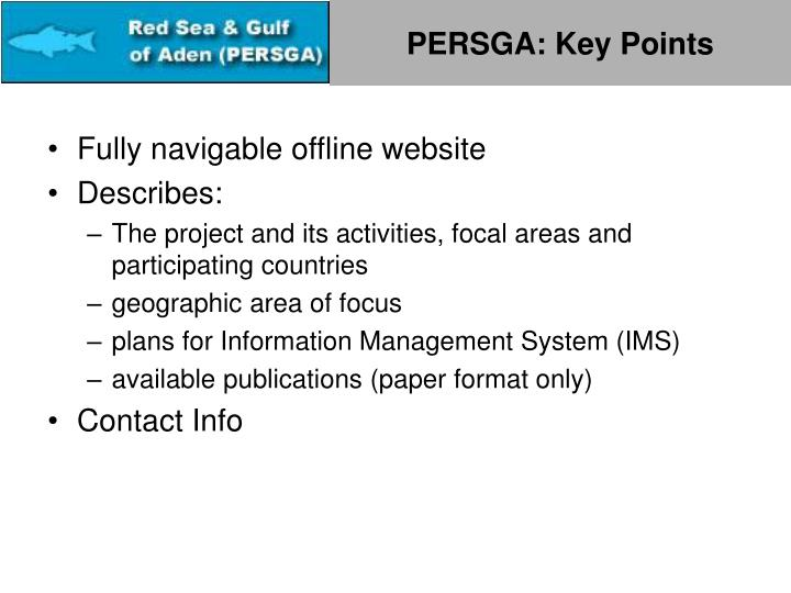PERSGA: Key Points