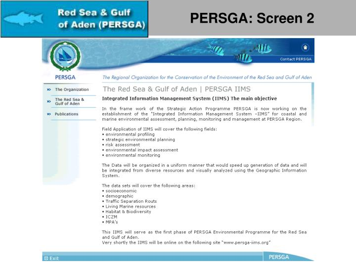 PERSGA: Screen 2