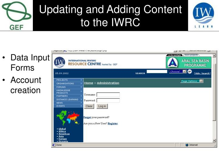 Updating and Adding Content to the IWRC