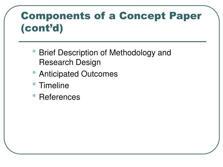 Components of a Concept Paper (cont'd)