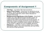 components of assignment 1
