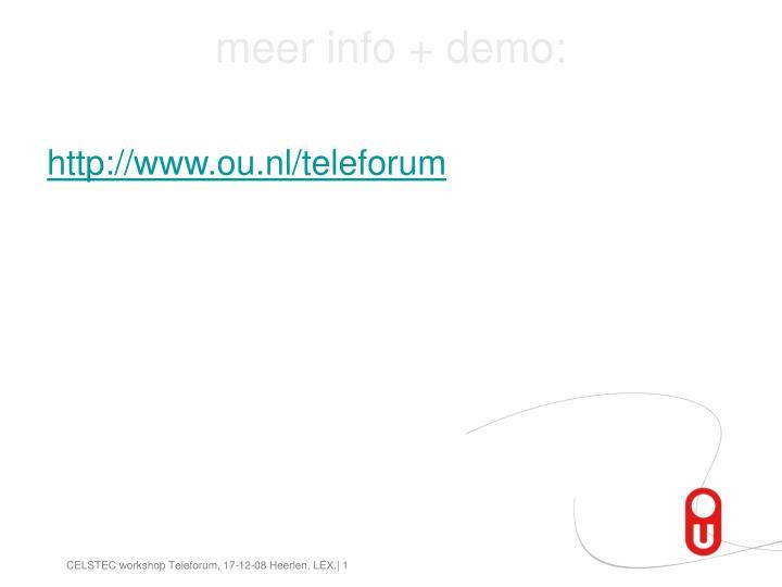 meer info + demo:
