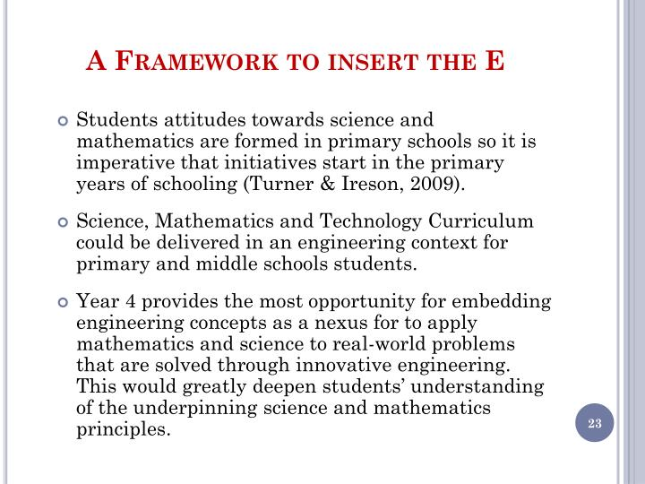 A Framework to insert the E
